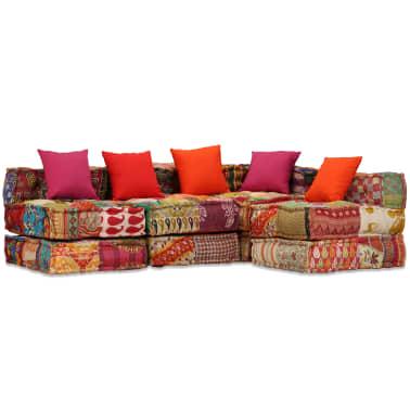 vidaXL 4-vietė modulinė sofa lova, skiautinis audinys[1/20]