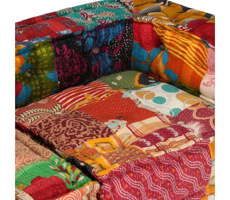 vidaXL 4-vietė modulinė sofa lova, skiautinis audinys[12/20]