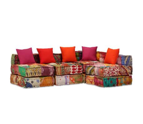 vidaXL 4-vietė modulinė sofa lova, skiautinis audinys[15/20]