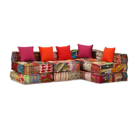vidaXL 4-vietė modulinė sofa lova, skiautinis audinys[16/20]