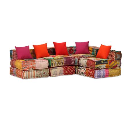 vidaXL 4-vietė modulinė sofa lova, skiautinis audinys[17/20]