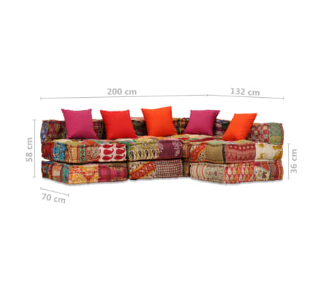 vidaXL 4-vietė modulinė sofa lova, skiautinis audinys[20/20]