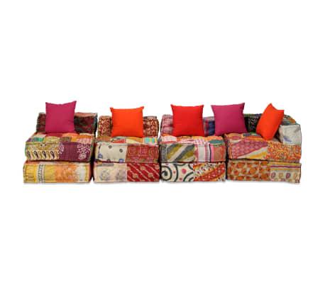 vidaXL 4-vietė modulinė sofa lova, skiautinis audinys[3/20]
