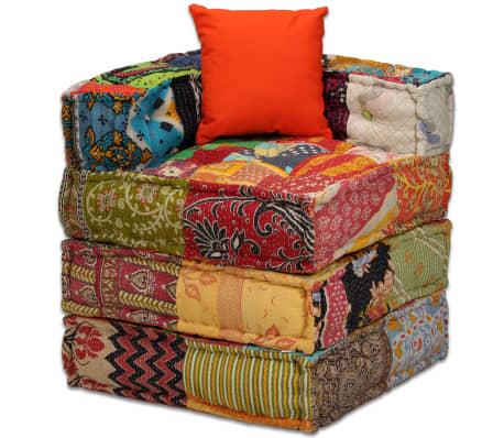vidaXL 4-vietė modulinė sofa lova, skiautinis audinys[5/20]