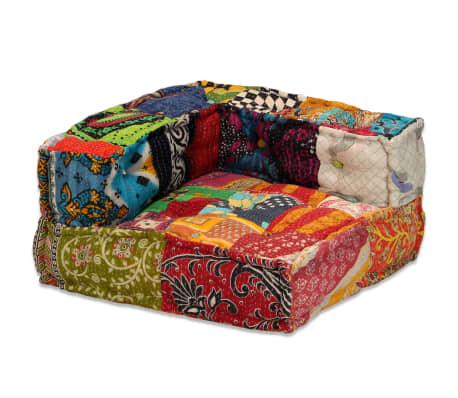 vidaXL 4-vietė modulinė sofa lova, skiautinis audinys[7/20]