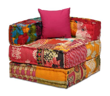 vidaXL 4-vietė modulinė sofa lova, skiautinis audinys[10/20]