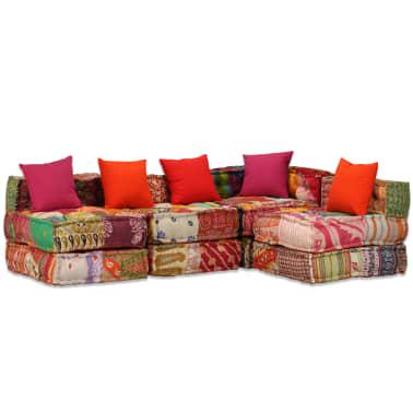 vidaXL 4-vietė modulinė sofa lova, skiautinis audinys[18/20]