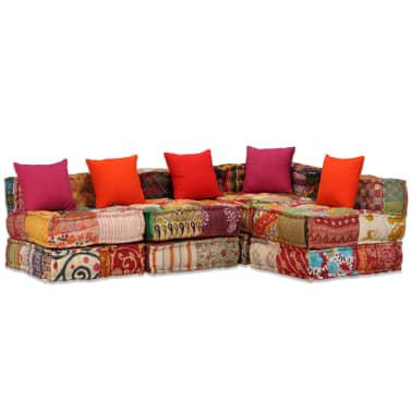 vidaXL 4-vietė modulinė sofa lova, skiautinis audinys[19/20]