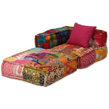 vidaXL 4-vietė modulinė sofa lova, skiautinis audinys[4/20]