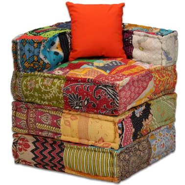 acheter vidaxl canap lit modulaire 4 places tissu patchwork pas cher. Black Bedroom Furniture Sets. Home Design Ideas