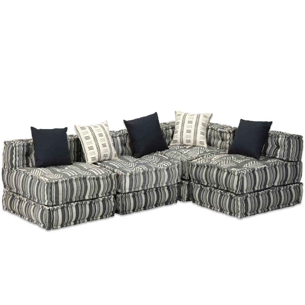 vidaXL 4-osobowa sofa tapicerowana tkaniną, paski