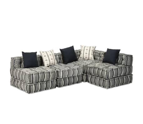vidaXL Sofa lova, keturvietė, modulinė, audinys, dryžuota