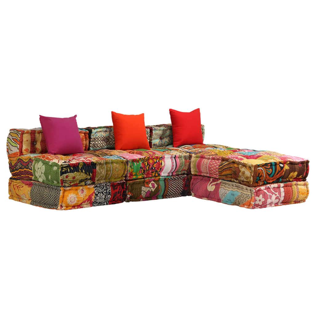vidaXL Canapea puf modulară cu 3 locuri, petice, material textil vidaxl.ro