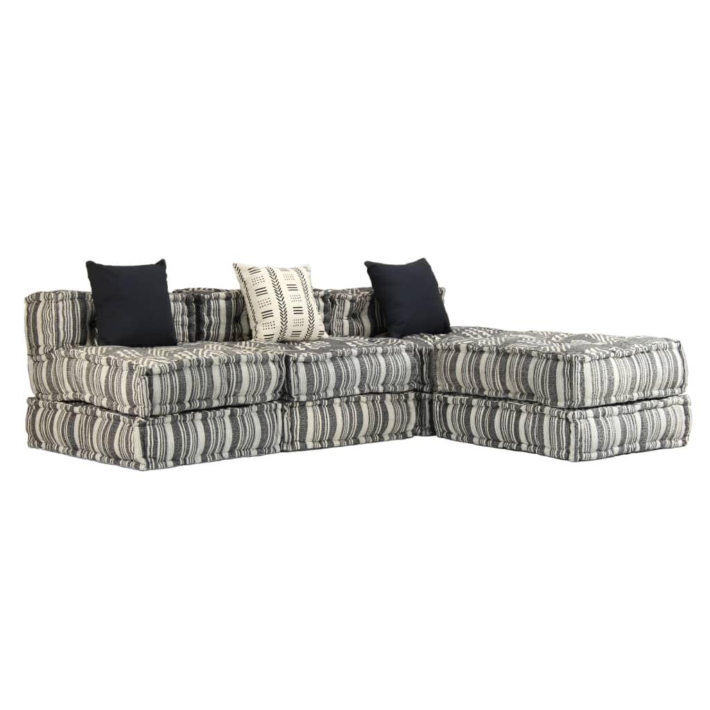 vidaXL 3-osobowa, rozkładana sofa modułowa, narożnik, tkanina w paski