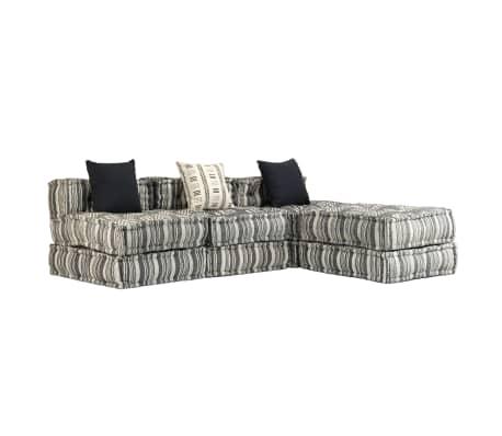 vidaXL Trivietė modulinė sofa-lova, audinys, dryžuota[1/23]