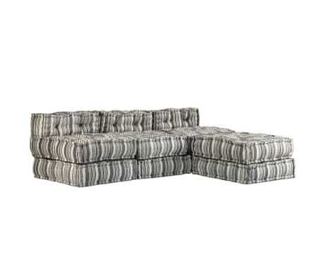 vidaXL Trivietė modulinė sofa-lova, audinys, dryžuota[19/23]