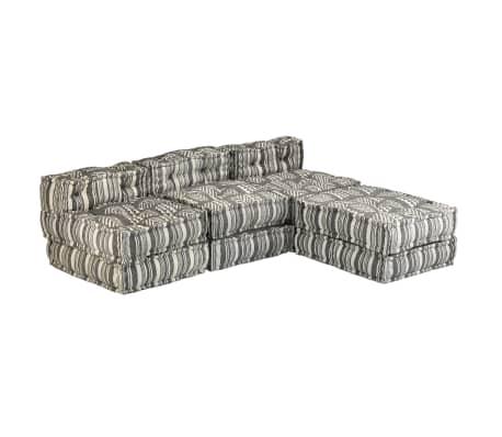 vidaXL Trivietė modulinė sofa-lova, audinys, dryžuota[3/23]