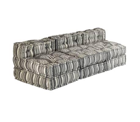 vidaXL Trivietė modulinė sofa-lova, audinys, dryžuota[4/23]