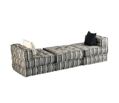 vidaXL Trivietė modulinė sofa-lova, audinys, dryžuota[5/23]
