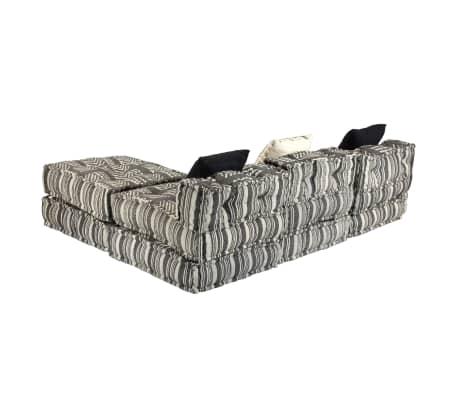 vidaXL Trivietė modulinė sofa-lova, audinys, dryžuota[8/23]