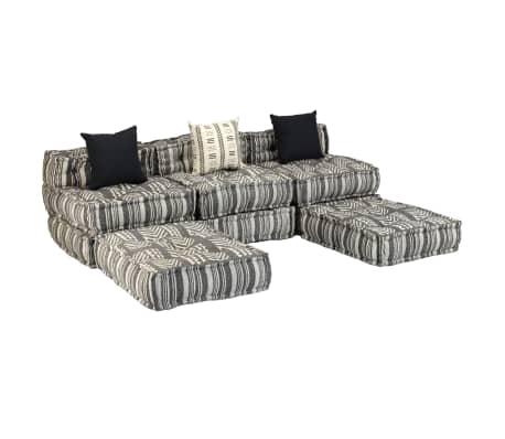 vidaXL Trivietė modulinė sofa-lova, audinys, dryžuota[9/23]