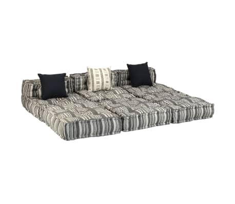 vidaXL Trivietė modulinė sofa-lova, audinys, dryžuota[10/23]