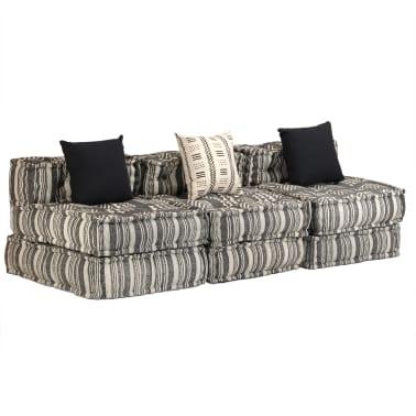 vidaXL Trivietė modulinė sofa-lova, audinys, dryžuota[2/23]