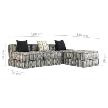 vidaXL Trivietė modulinė sofa-lova, audinys, dryžuota[21/23]