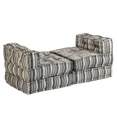 vidaXL Trivietė modulinė sofa-lova, audinys, dryžuota[6/23]