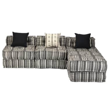 vidaXL Trivietė modulinė sofa-lova, audinys, dryžuota[7/23]