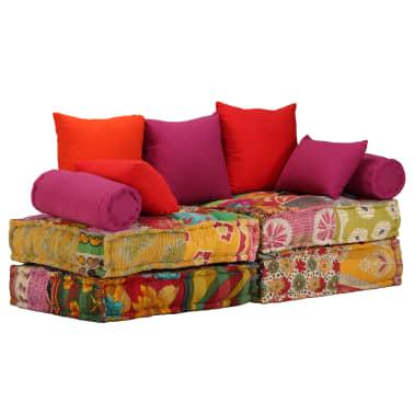 vidaXL Dvivietė modulinė sofa lova, skiautinis dizainas[1/11]