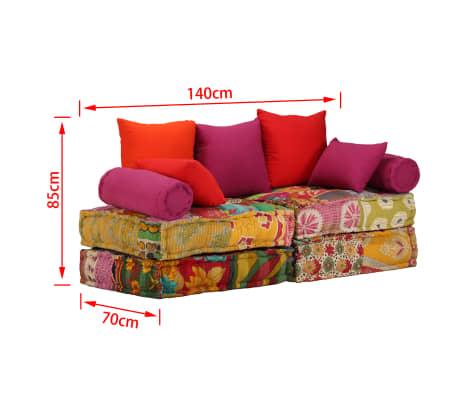 Vidaxl sof cama modular de 2 plazas de tela patchwork Sofa cama modular