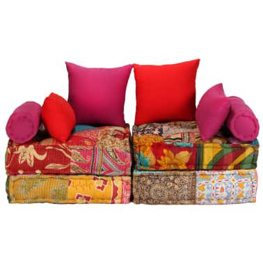 vidaXL Dvivietė modulinė sofa lova, skiautinis dizainas[2/11]
