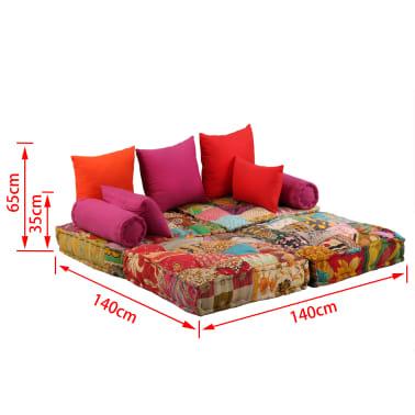 vidaXL Dvivietė modulinė sofa lova, skiautinis dizainas[11/11]