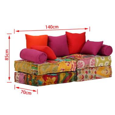 vidaXL Dvivietė modulinė sofa lova, skiautinis dizainas[10/11]