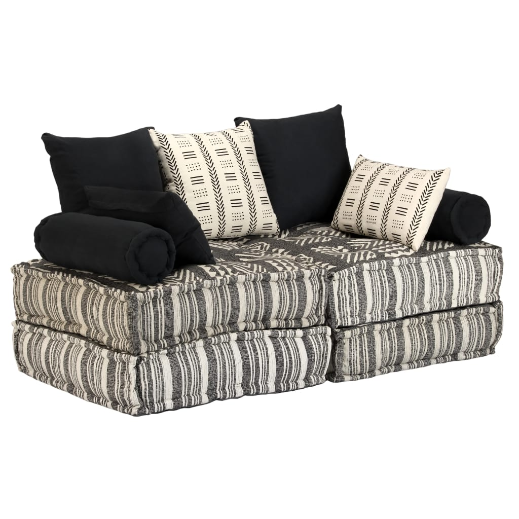 vidaXL 2-osobowa, rozkładana sofa modułowa, tkanina, paski