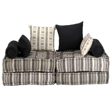 vidaXL 2-miestna modulárna rozkladacia pohovka, textilná, pruhovaná[2/10]