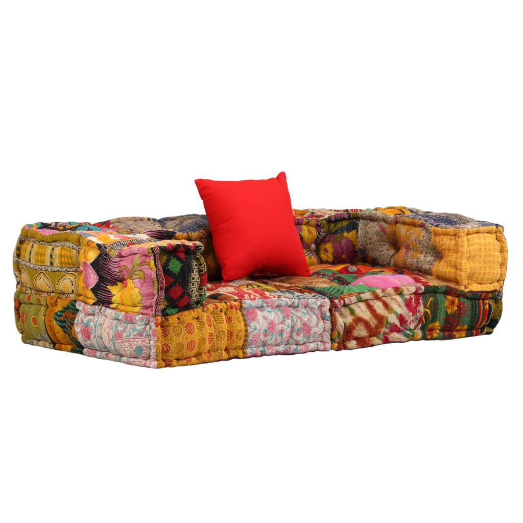 vidaXL 2-osobowa modułowa sofa z podłokietnikami, patchworkowa