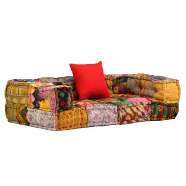 vidaXL Dvivietė modulinė sofa su porankiais, skiautinis dizainas[1/9]