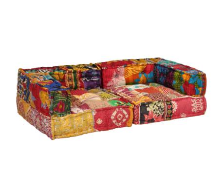 vidaXL Dvivietė modulinė sofa su porankiais, skiautinis dizainas[4/9]
