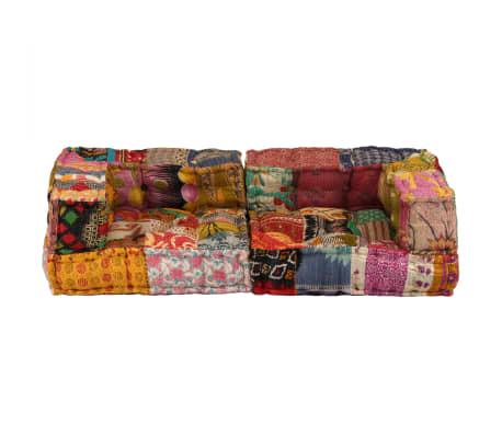 vidaXL Dvivietė modulinė sofa su porankiais, skiautinis dizainas[5/9]