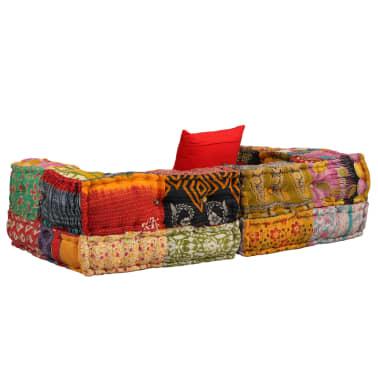 vidaXL Dvivietė modulinė sofa su porankiais, skiautinis dizainas[3/9]