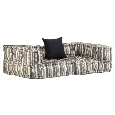 vidaXL Dvivietė modulinė sofa su porankiais, audinys, dryžuota[1/7]