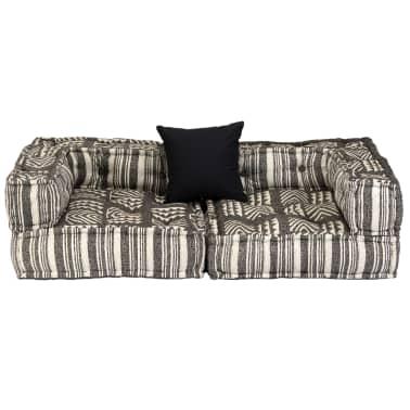 vidaXL Dvivietė modulinė sofa su porankiais, audinys, dryžuota[3/7]