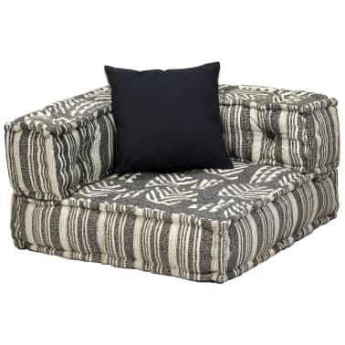 vidaXL Dvivietė modulinė sofa su porankiais, audinys, dryžuota[4/7]