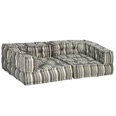 vidaXL Dvivietė modulinė sofa su porankiais, audinys, dryžuota[5/7]
