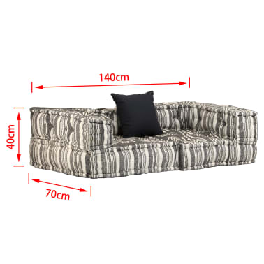 vidaXL Dvivietė modulinė sofa su porankiais, audinys, dryžuota[7/7]