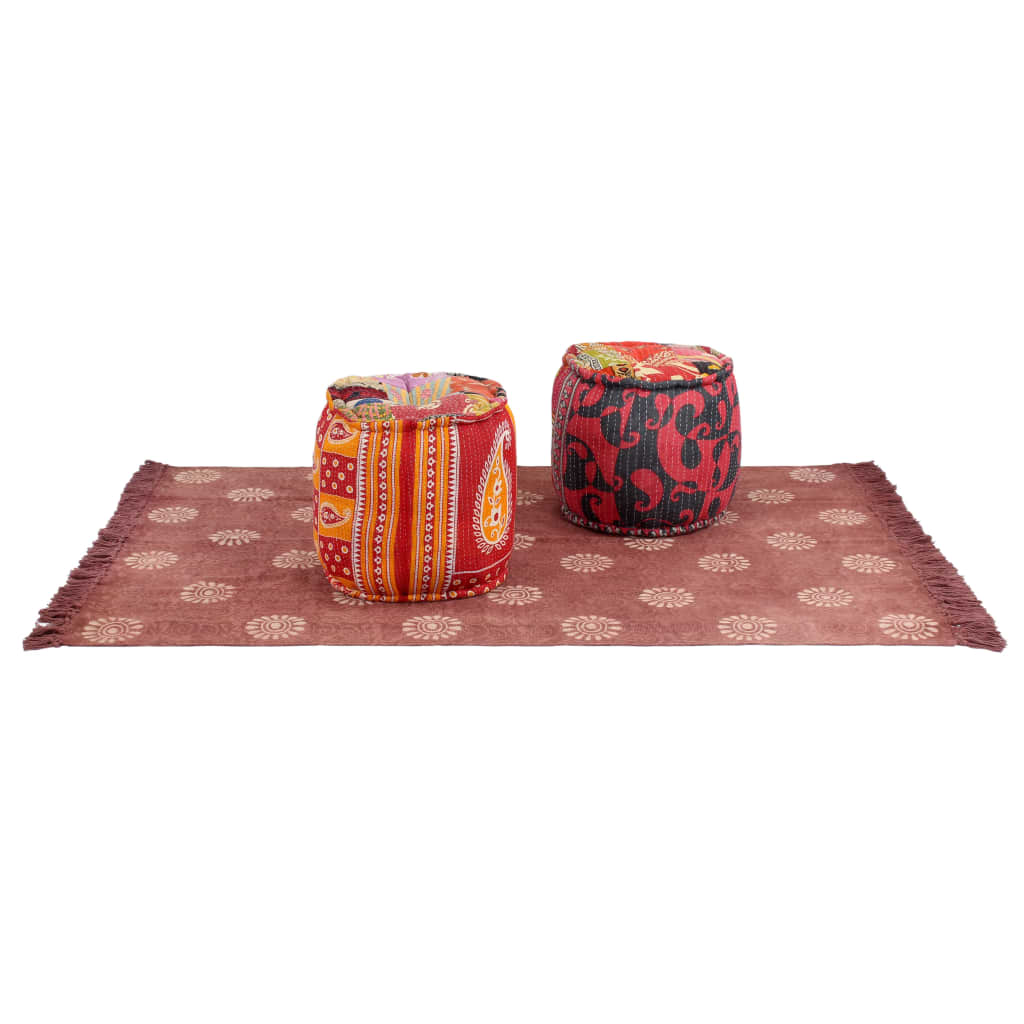 vidaXL Taburety a koberec 3 ks textil patchwork