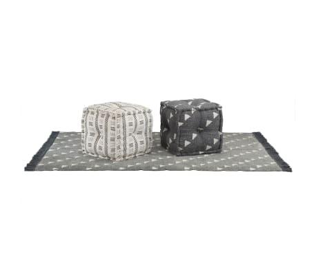 vidaXL Taburety a koberec 3 kusy textil pruhy