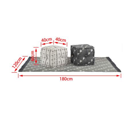 vidaXL Puff und Teppich 3-tlg Stoff gestreift[10/10]